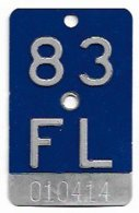 Velonummer Liechtenstein FL 83, Blau - Number Plates