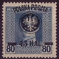 Poland 1918 Mi 25 Error Color Blue And Black Owerprint, Provisional Poczta Polska  G. Signed.  MNH** W476 - ....-1919 Übergangsregierung