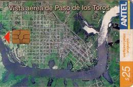 TARJETA TELEFONICA DE URUGUAY, 283a (211) VISTA AEREA DEL PASO DE LOS TOROS - Uruguay