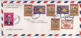 AIRMAIL USED CIRCULATED HONDURAS TO IRELAND 1970 TBE-BLEUP - Honduras
