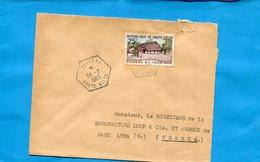 Marcophilie-haute Volta  -lettre >Françe-cad  Hexagonal ZINIARE1963-stamps-N°100 Chasse Et Tourisme - Upper Volta (1958-1984)