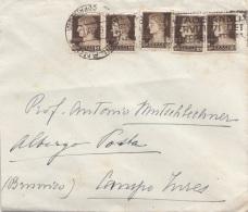 ITALIEN 1942 - 5x10 L Auf Brief, Gebrauchsspuren - Ganzsachen