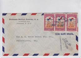 AIRMAIL USED PANAMA TO USA.1950 CENTENARIO GRAL S MARTIN BON ETAT-BLEUP - Panama