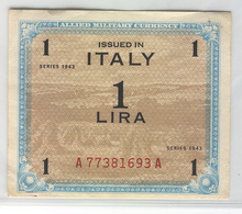 ITALY M10 1943 1 Lira UNC - [ 3] Military Issues