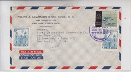 FELIPE J ALVARADO & CIA SUCS SA. AIRMAIL CIRCULATED COSTA RICA TO NEW YORK 1970.-BLEUP - Costa Rica