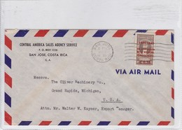 CENTRAL AMERICA SALES AGENCY SERVICE. AIRMAIL CIRCULATED COSTA RICA TO MICHIGAN 1950.-BLEUP - Costa Rica