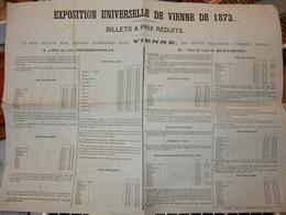 TRÈS RARE ET AUTHENTIQUE DOCUMENT EXPOSITION UNIVERSELLE VIENNE 1873 TARIF ACCÈS PAR CHEMINS DE FER A PARTIR BELGIQUE - Europe