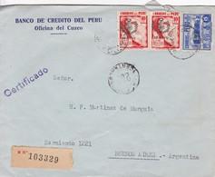 BANCO DE CREDITO DEL PERU. OFICINA DEL CUZCO. CIRCA 1940's. RECOMMANDE. SURTAXE. COMMERCIAL ENVELOPE.-BLEUP - Peru