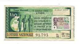 BILLET LOTERIE NATIONALE 1955 : Union Des Aveugles., Timbre Poisson., TR 38 GR III - Billets De Loterie