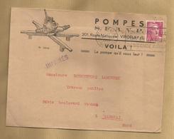 Viroflay (78) Pompes S.F.A.V.P. 201 Route Nationale 2 Scans 09-11-1948 Cachet Versailles R.P. - Marcophilie (Lettres)