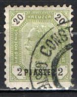 AUSTRIA - UFFICI DEL LEVANTE - 1891 - EFFIGIE DELL'IMPERATORE FRANCESCO GIUSEPPE - 2 PIASTRES - USATO - Oriente Austriaco