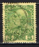 AUSTRIA - UFFICI A CRETA - 1908 - EFFIGIE DELL'IMPERATORE FRANCESCO GIUSEPPE - 5 CENTIMES - USATO - Oriente Austriaco