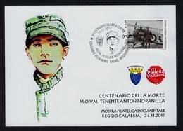 """2017 ITALIA """"CENTENARIO GRANDE GUERRA / MORTE TENENTE PANELLA"""" CARTOLINA ANNULLO 24.11.2017 (R. CALABRIA) - Italia"""