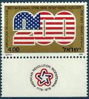 ISRAEL  # 598 -  200  YEARS  USA REVOLUTION   -  1976  -  MNH  W / TAB - Israel