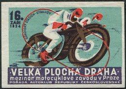 MOTORCYCLE 1934 Czechoslovakia Praha Prague Motosport Motocycle Moto Bike Motorbike Motorrad Cycling Vignette Poster - Motorbikes
