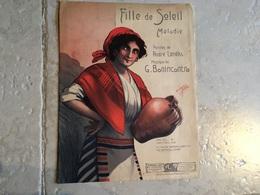 PARTITION DE MUSIQUE ILLUSTRATEUR FEMME TYPE CORSE GITANE BOHEMIENNE FOLKLORE BONINCONTRO LENEKA FILLE DE SOLEIL - Liederbücher