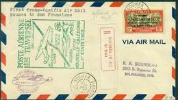 NOUVELLE CALEDONIE 1er Vol NOUMEA / SAN FRANSISCO Par Canton Island 21.7.1940 Affr.PA 28 (cote S/let:185 €) RRR. - Briefe U. Dokumente