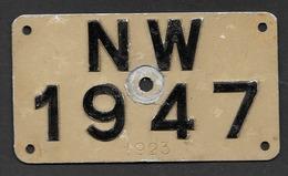 Velonummer Nidwalden NW 47 - Number Plates