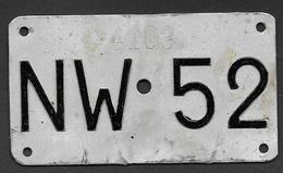 Velonummer Nidwalden NW 52 - Number Plates