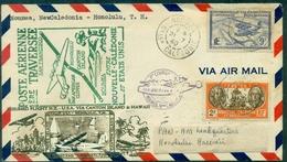 NOUVELLE CALEDONIE 1er Vol NOUMEA/SAN FRANCISCO Par CANTON Island 21.07.1940 Arr Hawai Le 22 .TRES RARE. - Briefe U. Dokumente