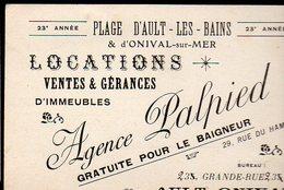 Ault-Onival (80 Somme) Carte De L'Agence De Locations PALPIED (PPP12455) - Advertising