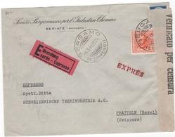 Lettre  ITALIE  , EXPRES,   Avec Censure  (x82/89) - Usati