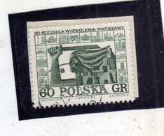 POLONIA POLAND POLSKA 1965 LIBERATION OF WARSAW LIBERAZIONE DI VARSAVIA 60g USATO USED OBLITERE' - Usati