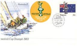 (105) Australia Commemorative Cover - America Cup 1983 (2 Covers) With Additional Stickers - Australia