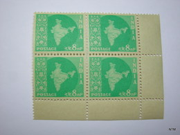 INDIA 1958. Map Of India. Water Mark: Ashokan, 8n.p. Turquoise, A Block Of 4. SG 404. MNH - 1950-59 République