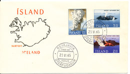 Iceland FDC The Volcano Surtsey 23-6-1965 Complete Set With Cachet - Vulkane