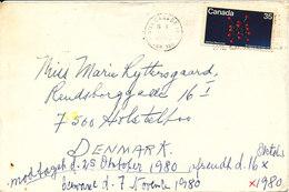 Canada Cover Sent To Denmark 16-10-1980 Single Franked - Cartas