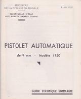 MILITARIA - Guide Technique Du Pistolet Automatique  MAC 50 -  MILITAIRE - Gendarmerie - Decorative Weapons