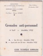 MILITARIA - Guide Technique  MILITAIRE - Grenades Anti Personnel à Fusil Modèle 1952 - Armes Neutralisées
