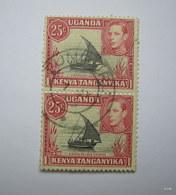 KENYA UGANDA TANGANYIKA 1938. KGVI 25c. SG 140. Block Of 2. Used. - Kenya, Uganda & Tanganyika