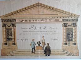 """Elections Municipales De 1881 -  """"diplome"""" Honoré Des Suffrages De Ses Concitoyens, élu Au Conseil Municipal De Margny - Diploma & School Reports"""