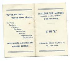 Petit CALENDRIER 1958..Tailleur Sur Mesure ISY, Avenue Des Gobelins PARIS 13e...2 Scans - Calendriers