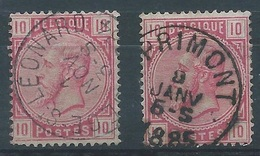 2 X Nr 38 Oblitération Liege St Leonard + Sprimont - 1883 Leopold II