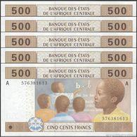 TWN - GABON (C.A.S.) 406Ac6 - 500 Francs 2002 (2015) DEALERS LOT X 5 UNC - Gabon