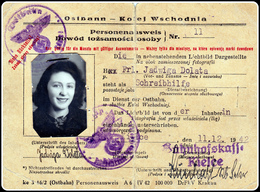 WW2 Generalgouvernement Ostbahn Personalausweis - East Railway ID Ticket 1944 + 3 X Ausweismarke - Documents