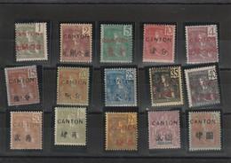 Canton Série 33 A 49 Avec Charniére Fraicheur Postale Sauf 41 Et 45 Cote 297 - Canton (1901-1922)