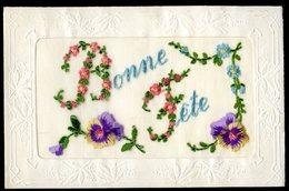 Cpa Fantaisie Brodée Bonne Fête Très Bon état     AVRIL18-14 - Ricamate