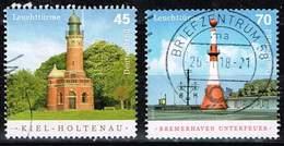 Bund 2017, Michel# 3316 - 3317 O Leuchttürme: Kiel - Holtenau Und Bremerhaven Unterfeuer - BRD
