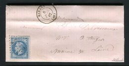Belle Lettre De Marans Pour Angers ( 1867 ) - Cachet GC 2194 - 1849-1876: Période Classique
