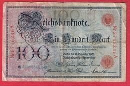 Allemagne  -  100 Mark 28/12/1905  -  Pick # 24  - état  TB - [ 2] 1871-1918 : German Empire