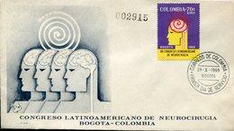 34148 Colombia, Fdc 1969  Latin American Neurology Congres, Congres Latin Neurologie - Enfermedades