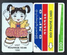 MYANMAR 5 BIRMANIE 100u MYANMAR YEAR 1996 Vert Green 15000ex MINT URMET Neuve - Myanmar (Burma)