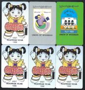 MYANMAR BIRMANIE Série Of 6 Cards From First 1 To 6 MINT URMET Neuve - Myanmar