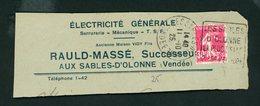 """FRANCE -  FLAMME DAGUIN """" LES SABLES D'OLONNE LA PLUS BELLE PLAGE D'EUROPE """"  DE SABLES D'OLONNE 1925 - Marcophilie (Lettres)"""