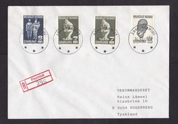 Greenland: Registered Cover To Germany, 1970, 4 Stamps, Sculptures, Art, Rare R-label Paamiut (traces Of Use) - Brieven En Documenten