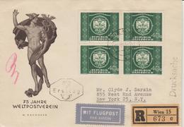 Autriche  1949 Série UPU En Bloc De 4 Sur 3 Lettres Recommandées Pour Les Etats Unis - 1945-60 Briefe U. Dokumente